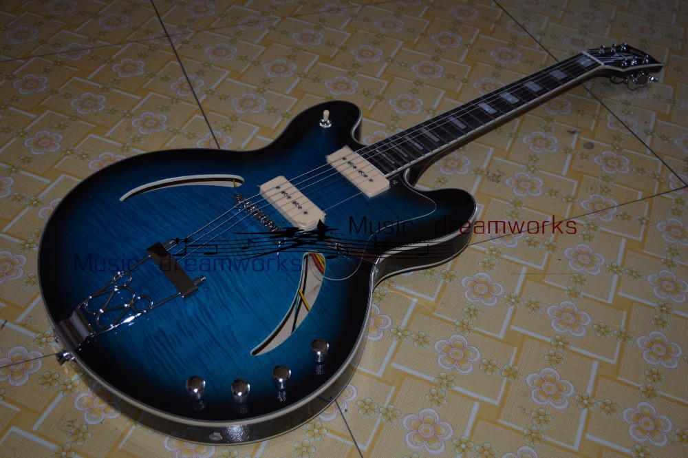 China firehawk OEM Electric hollow jazz guitar Blue flame maple wood P90 style pickup EMS free shipping image