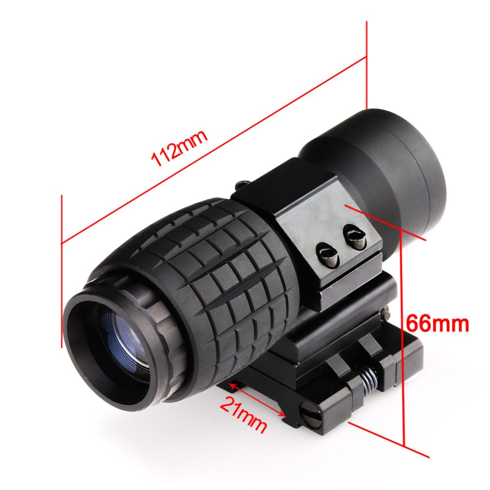 Soft Air Gun Rifle Sight 3X Magnifier Scope Compact Tactical Sight with Flip to 20mm Rifle Gun Rail Mount