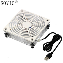 цены New USB 5V 120mm Led Cooling Fan Wifi Router Holder Cooler TV set-top Box Support heatsink Fan for Computer/pc Pet Box radiator