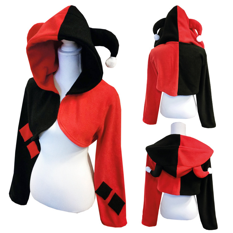 Female Clown Cosplay Cloak Game Cosplay Costumes Quinn Red Short Cape Halloween Cosplay Coat Carnival Disguisement