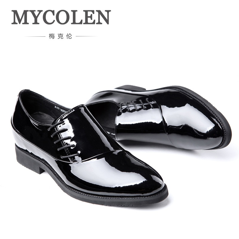 MYCOLEN New Quality Men Shoes Patent Leather For Men Business Dress Shoes Leather Lace Breathable Summer Style Men Shoes 2017 new spring imported leather men s shoes white eather shoes breathable sneaker fashion men casual shoes