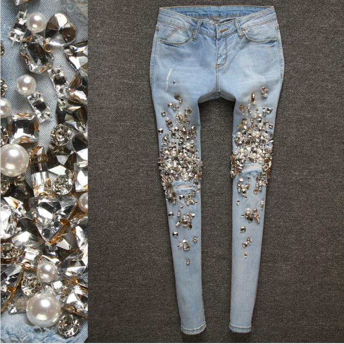 2018 Di Autunno Di Lusso Dei Jeans Del Diamante Che Borda Delle Donne Sottili Matita Blu Denim Vintage Skinny Jeans