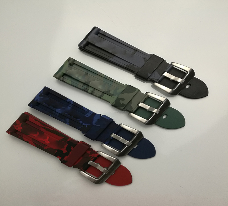 Watch Accessories Rubber strap suitable for use with for Panerai PAM111 camouflage 24mm lukeni 24mm camo gray green blue yellow silicone rubber strap for panerai pam pam111 watchband bracelet can with or without logo