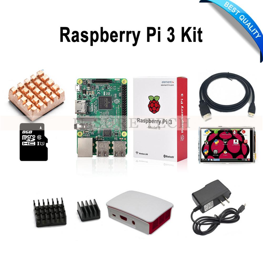 Prix pour Raspberry Pi 3 Modèle B Conseil + 3.5 pouces pi 3 lcd display + 8 GB TF Carte + 5V2. 5A Alimentation (de L'UE OU des ÉTATS-UNIS) + ABS Cas + Dissipateurs + HDMI Câble