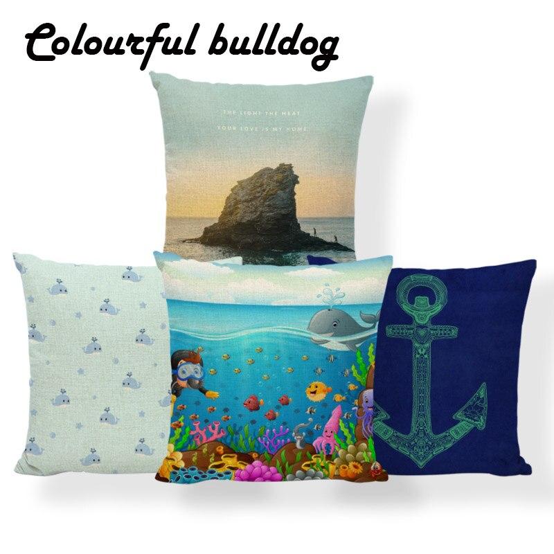 Mermaid Anchor Cushion Beach Nautical Pillow Ocean Whale Seahorse Nature Home Houseware Throw Pillow Red 45Cm Cotton Blend Funny