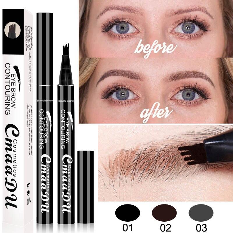Cmaadu Brand Makeup Liquid Eyebrow Pencil Waterproof Long Lasting 4 Fork Tips Black Coffee Microblading Eyebrow Tattoo Pen HF117