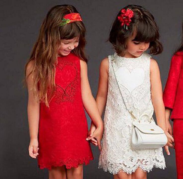Toddler Red Girl Dresses 2017 Baby Girls Dress Princess Kids Evening Party Dress Sleeveless Costume Vestido Menina baby girl dress new 2017 silk cotton satin red and white dot vest princess party dresses for toddler kids girls outfits gdr241