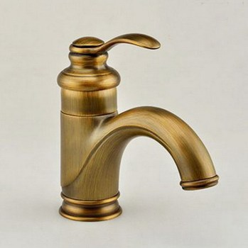 Antique Brass Single Lever Handle Bathroom Vessel Sink Basin Faucet Mixer Taps anf008