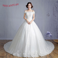 NIXUANYUAN 2017 Hot Sale Off The Shouder Beaded Wedding Dress 2017 Long Train Ivory White Appliques
