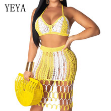 YEYA New Arrival Dresses for Women Summer Beach Sleeveless Party Two Pieces Sets Dress Sexy Hlater Hollow Out Open Back
