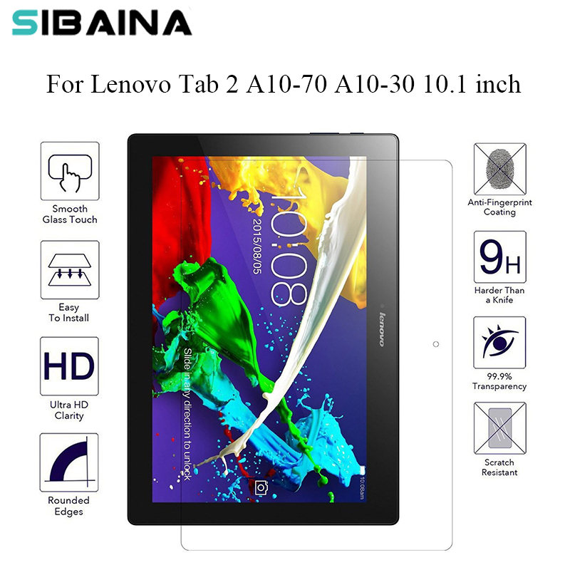 2pcs/Lot 9H Tempered Glass Screen Protector Film Guard Shield For Lenovo Tab 2 A10-30 A10-70 A10-70F A10-70L 10.1 Tablet PC tempered glass film screen protector for xiaomi tablet pc 0 3mm 2 5d 9h