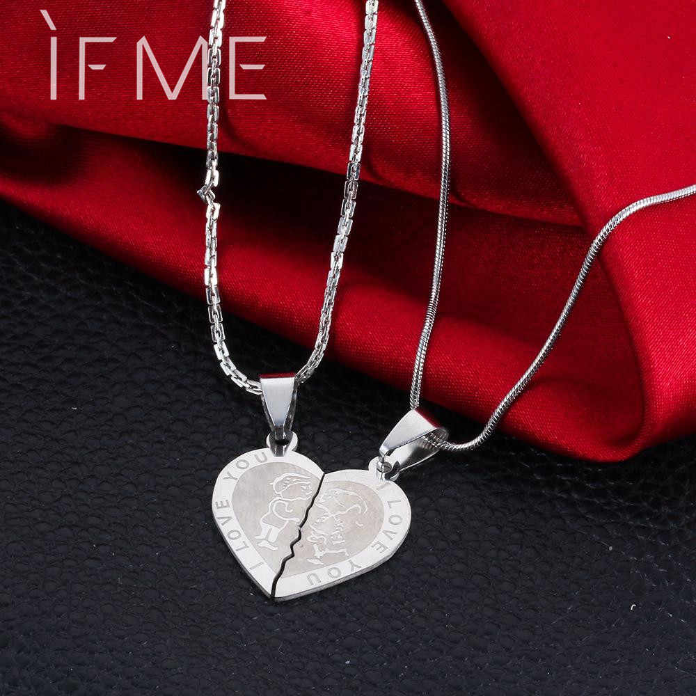 IF ME Valentine's Day Couples Lovers Promise Double Half Heart Statement Necklace Colar Silver Color Necklaces & Pendants