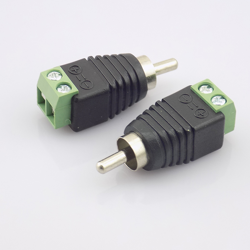Gakaki 10pcs Coax Cat5 to Male RCA Connector Coax AV Plug Adapter BNC UTP Video Balun Connector RCA Adapter Plug gakaki 10pcs wholesale1 bnc female connector to 2 female bnc coupler splitter plug adapter 3 way video adapter monito