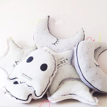 INS Cartoon Pillow Glow In The Dark Luminous Moon Star Owl Lamp Placate Stuffed Toys For Baby Children Room Decorative Pillows(China)