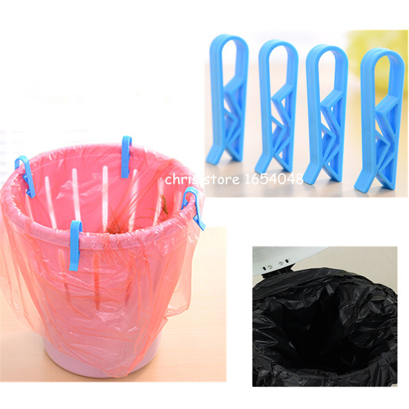 New arrival laundry products 8pcs/lot trash can trash pack plastic bag clip, kitchen tools ashbin dustbin garbage bags clip ...