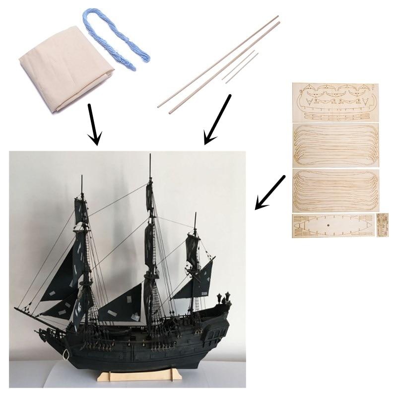 1/96 noir perle bateau kit 3d Laser coupé bricolage modèle noir perle bois modèle bateau Kit Train passe-temps échelle en bois bateau modèle Kit