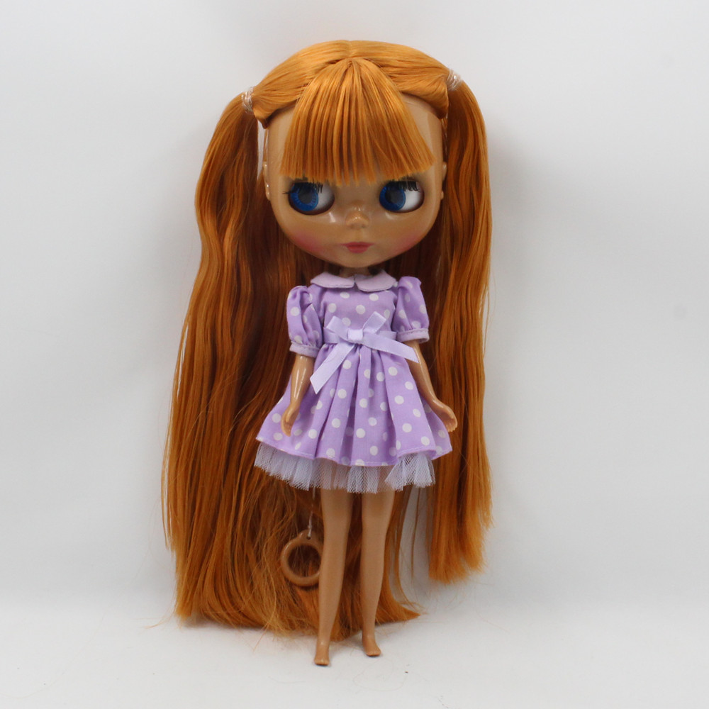 factory nude doll blyth dol brown long straight hair with bangs Suitable For DIY Change No.280BL0145 Toy For Girls цены онлайн