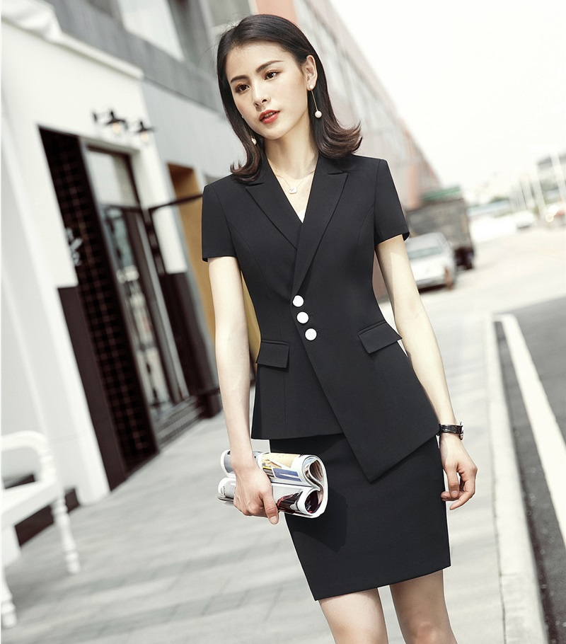 2 Pieces Sets Formal Business Suits With Blazer And Skirt For Women Summer Professional Ladies OL Styles Blazers Set Elegant