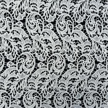 5y High Quality African Chemical Lace Fabric Water Soluble White Nigerian Embroidery Guipure Wedding Dress Clothing Accessories