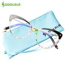 SOOLALA очки против голубого излучения компьютерные очки TR90 кошачий глаз синий светильник блокирующий женские полуоправы очки против усталости глаз очки
