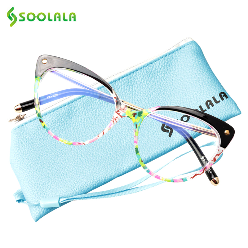SOOLALA Anti Blue Ray Glasses Computer Glasses TR90 Cat Eye Blue Light Blocking Women Semi-Rimless Anti Fatigue Goggles Glasses