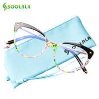 SOOLALA Anti Blue Ray Glasses Computer Glasses TR90 Cat Eye Blue Light Blocking Women Semi-Rimless Anti Fatigue Goggles Glasses