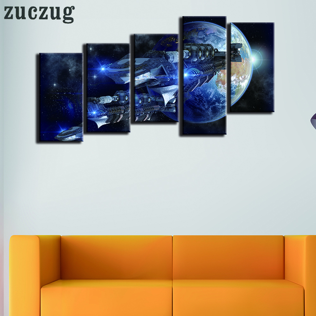 Framed 5 Pieces Spacecraft And Earth Art Canvas Painting Home Decor ...