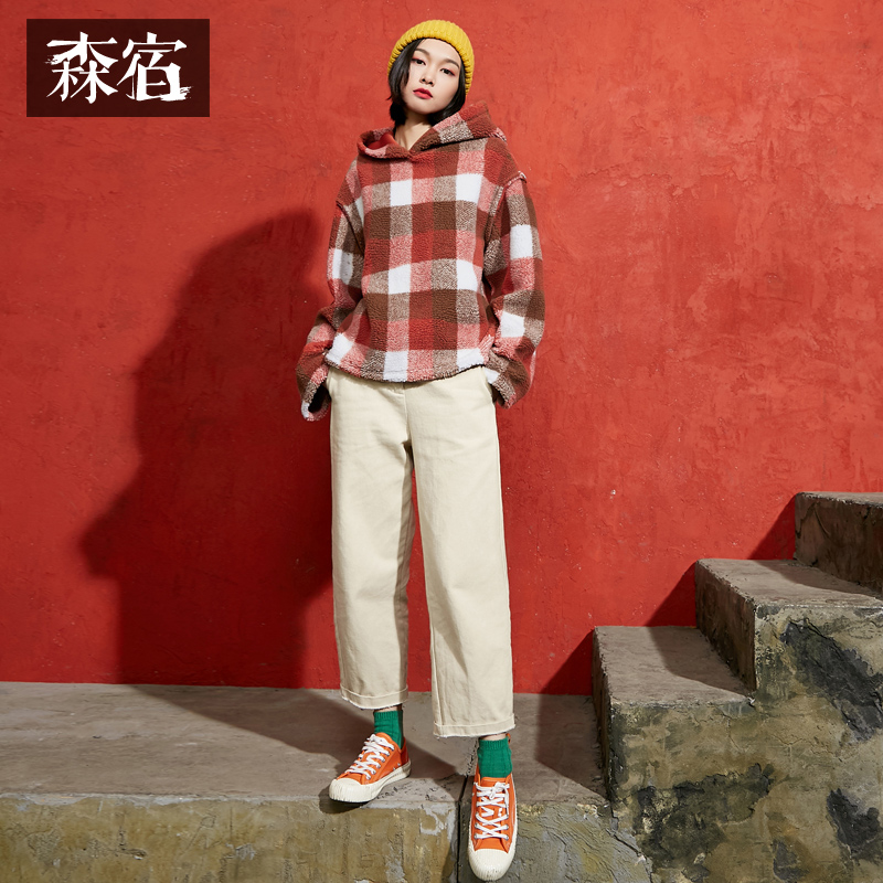 Samstree Autumn Winter Female Plaid Berber Fleece Sweatshirts Women Hoodies Pullover Preppy Style Girls Tops