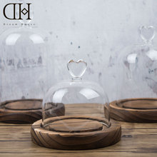 DH glass miniature decoration glass dome cover with wood base glass terrarium decoration figurine bell home decoration