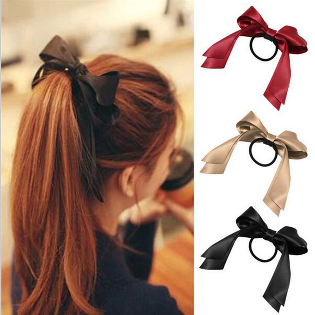 1pc Women Tiara Satin Bow Tie Scrunch Hair Band Ribbon Scrunchie Ponytail Holder Rope Rings Hair Accessories for Child Kids Girl