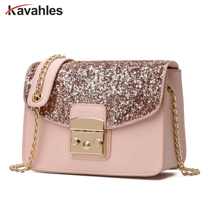 Quality Leather Womens Flap Bag Chain Strap Female Shoulder Bag Lay Crossbody Bags Fashion Women Sequined Messenger Bag LW-39