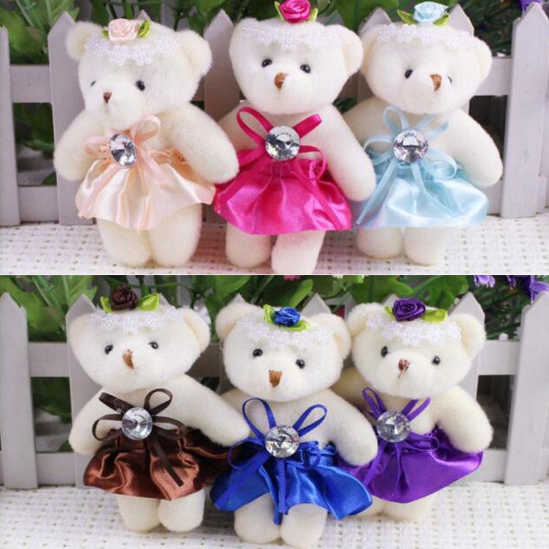 CXZYKING 12PCS Kawaii Soft Bear Toys For Bouquets Wedding Plush Mini Teddy Bear Keychain Hanging Toy Plush Toys Bear Dolls 1pair couple bear wedding teddy bears plush toys cartoon bouquets of toys wedding bear