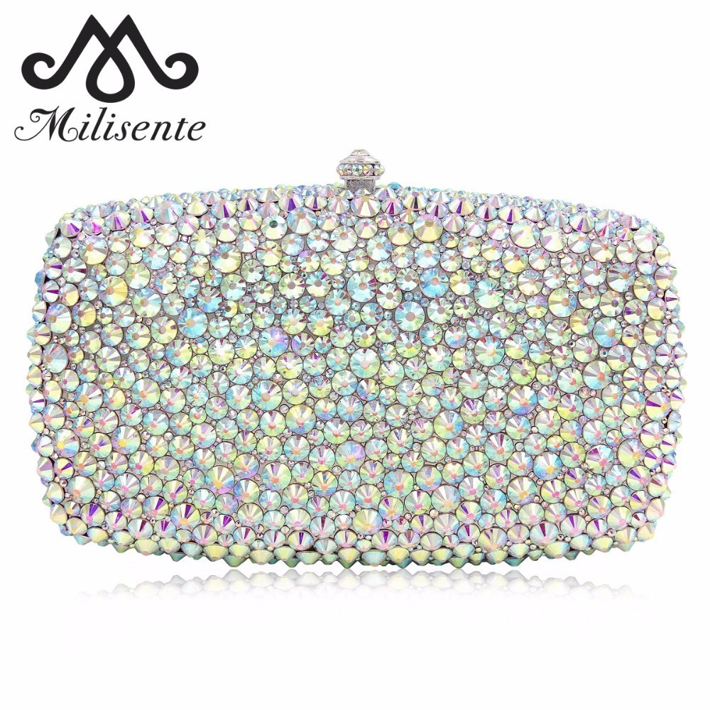 Milisente Women Evening Bags Luxury Crystal Clutch Female Clutches Wedding Bag Ladies Party Purse With Long Chain natassie women clutch bags full crystal evening bag blue party purse ladies wedding handbag with long chain
