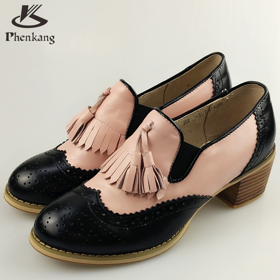 ФОТО Genuine leather big woman shoes US size 9 designer vintage High heels round toe handmade black pink pumps 2017 sping with fur