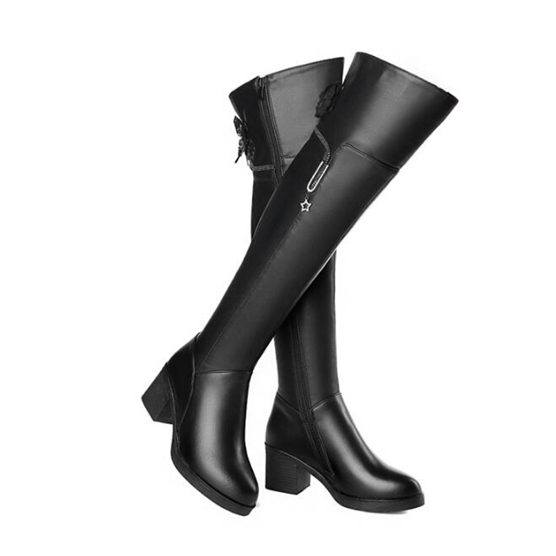 Luxury Colorful Women Over The Knee Boots Nature Leather Round High Heels ladies Casual Shoes Women