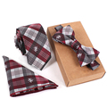 High Quality Men's Brand Floral Ties Bowtie Handckerchiefs Sets Plaid Wedding Grooms Necktie Gravatas Vestidos Pocket Square