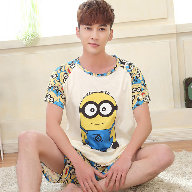 Yidanna cartoon short sleeve   pajamas     set   for men minions sleepwear plus size pyjamas cotton nightwear O-neck homedress in summer