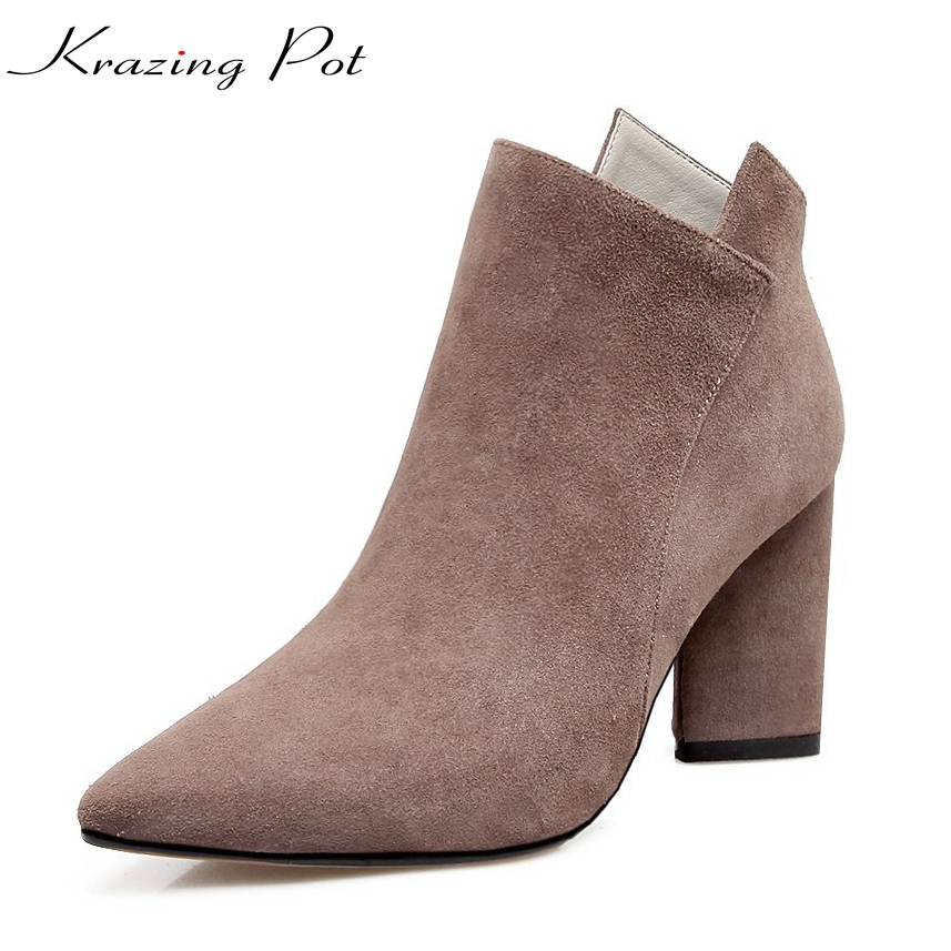 Krazing Pot kid suede winter streetwear office lady thick European design concise high heels pointed toe women ankle boots L62 krazing pot cow suede real leather autumn winter pointed toe buckle thick high heels women office lady tassel ankle boots l05