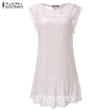 ZANZEA Vestidos 2017 Summer Elegant Women Casual Solid Short Sleeve Slim Lace Mini Dress Tops Ladies Sexy White Dress Plus Size