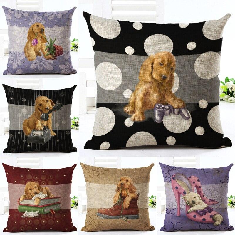 Square 18 Cotton Linen Merry Christmas Lovely 3D Pet Dog Decorative Throw Pillow Cushion Cover Sofa Home Decor Funda Cojines