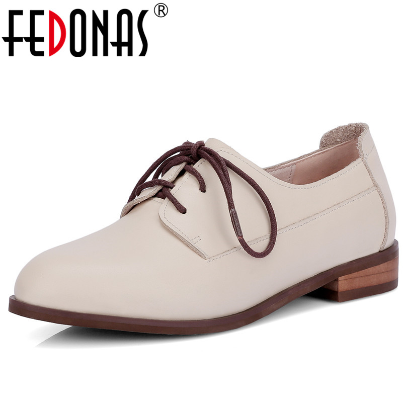 FEDONAS 2018 New Women Genuine Leather Casual Shoes Low Heels Comfortable Lace-up Loafers Brand Design Spring Shoes Woman aiyuqi 2018 new spring genuine leather female comfortable shoes bow commuter casual low heeled mother shoes woeme