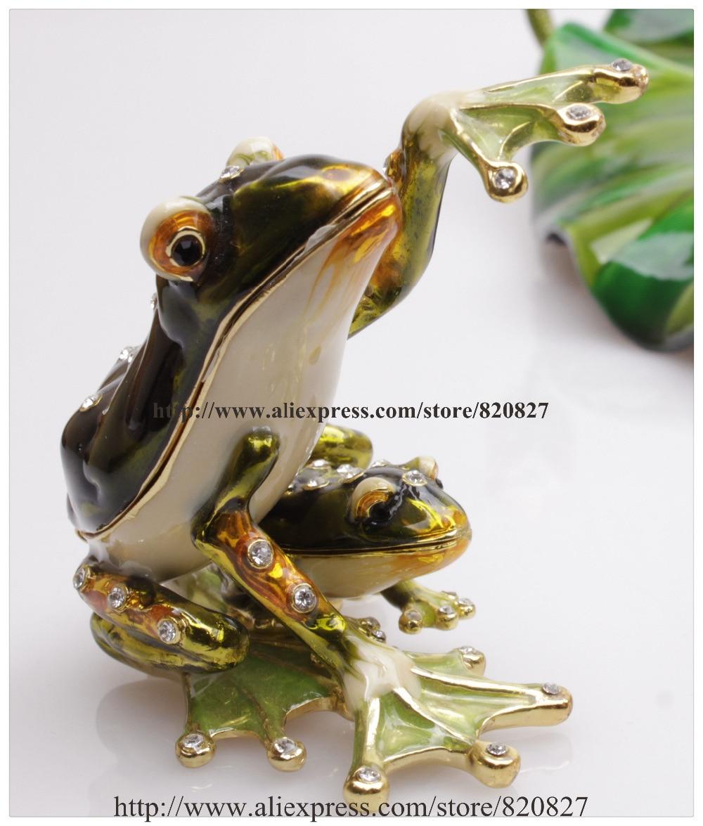 Crystal and Painted Metal 2 Frogs Treasure Keepsake Box Saying Hello Froggy Jewelry Trinket Box