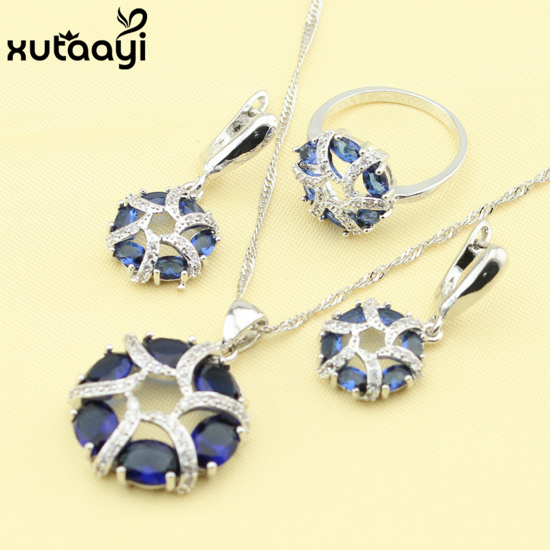 Necklace Rings Christmas-Gift Jewelry-Sets Zircon Crystal Silver-Color White Fashion
