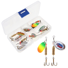 11pcs/box  Assorted Fishing Lures Wobblers Crankbaits Laser Spinners Spoon Lure Fishing Tackle Treble Hook Spinner Metal pesca