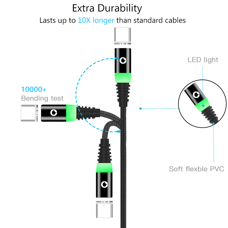 Mobile Phone Cables Just Pzoz Led Magnetic Charging Type C Cable For Samsung S9 S10 Xiaomi 9 9se Redmi Note 7 One Plus 6 Magnet Charger Usb C Cord Cable