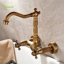 Ванная комната стены античная медь подвесной Тип умывальник холодной горячей воды двойной стиль кран круглое основание