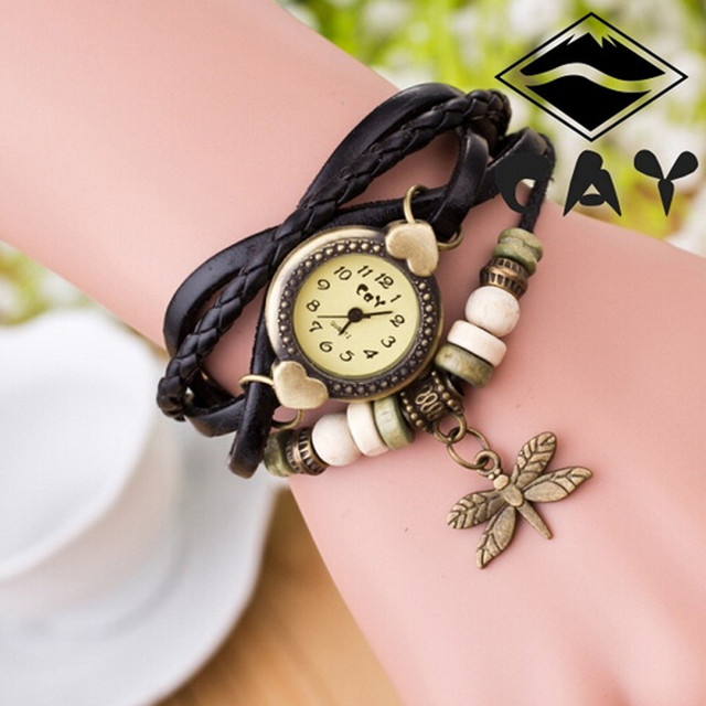 2018 Watch Women Woman Bracelet Wrist Watch Dragonfly Hand Ring Quartz watch Clo