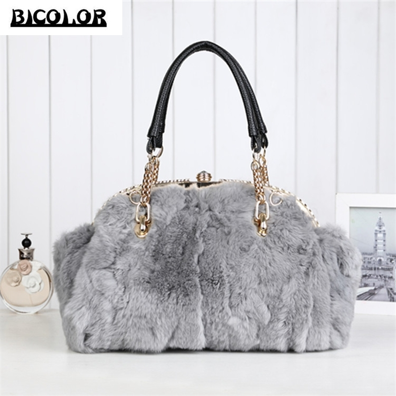 ФОТО BICOLOR Women Leather Handbags Vintage Bags Big Handbags Women Casual Rabbit Fur with Cow Leather Handbag Women Shoulder Bag New
