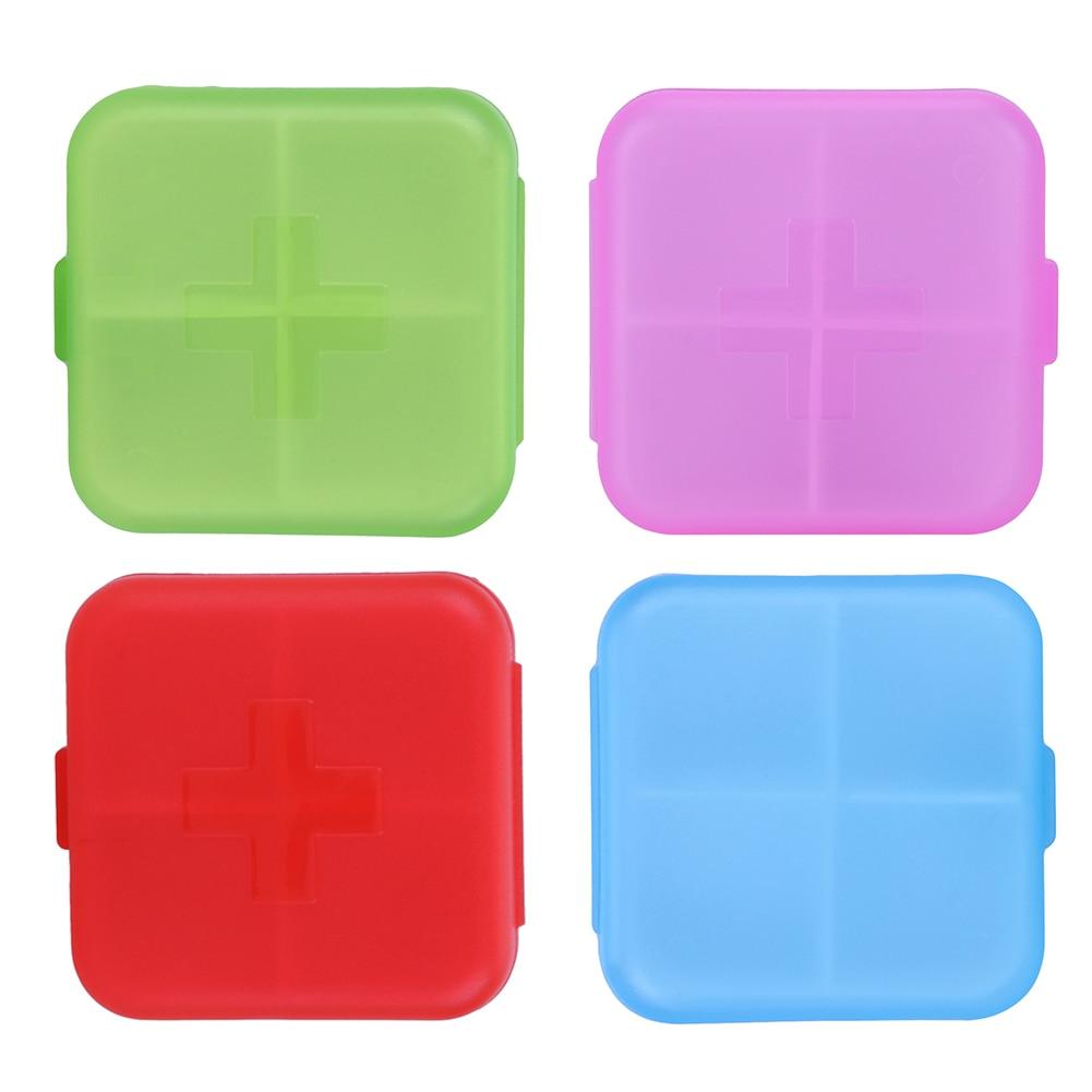4 Slots Square Travel Pill Cases Outdoor Vitamin Cases Medicines Pill Box Portable Medicine Holder Pastillero 1