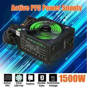 LEORY PC PSU Power-Supply 1500W 80-Plus Active LED SATA 24pin for BTC Hydraulic-140mm-Fan